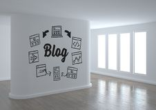 Blog conceptual graphic on 3D room wall. Digital composite of Blog conceptual graphic on 3D room wall Stock Photography