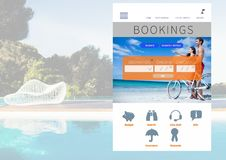 Bookings Holiday break App Interface with swimming pool Stock Photos