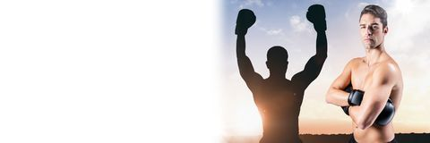 Boxer man with champion silhouette Royalty Free Stock Photography