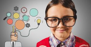 Boy against grey background with huge glasses and brain thinking illustrations Stock Images