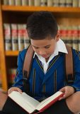Boy reading in education library. Digital composite of Boy reading in education library royalty free stock image