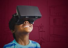 Boy in virtual reality headset against maroon hand drawn office Stock Photo