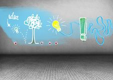 Bright idea drawing graphics in grey room Stock Photography