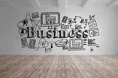 Business conceptual graphic on 3D room wall Stock Photography