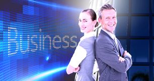 Business couple back to back with Business text with building office windows. Digital composite of Business couple back to back with Business text with building royalty free stock photo