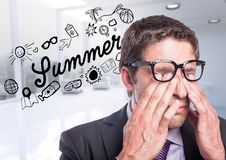 Business man against summer doodle and blurry white office. Digital composite of Business man against summer doodle and blurry white office Royalty Free Stock Images