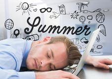 Business man asleep at laptop against summer doodle and blurry white office. Digital composite of Business man asleep at laptop against summer doodle and blurry Royalty Free Stock Image
