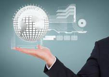 Business man holding a globe with connectors Stock Photography