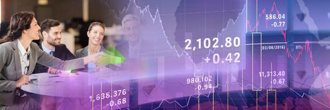 Business meeting with purple finance graph transition. Digital composite of Business meeting with purple finance graph transition Royalty Free Stock Image