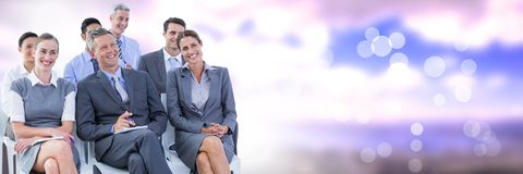 Business people and nature with flare light source. Digital composite of Business people and nature with flare light source Royalty Free Stock Photography