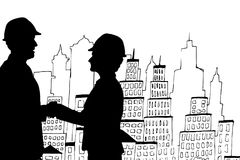 Business people shaking hands silhouette against city illustration. Digital composite of Business people shaking hands silhouette against city illustration Stock Images