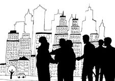 Business people silhouettes against city illustration stock illustration