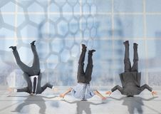 3 business people stuck upside down with transition background vector illustration