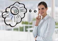 Business woman dreaming of sun against blurry white office Stock Photos