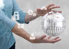 Business woman holding a globe with connectors. Digital composite of Business woman holding a globe with connectors Royalty Free Stock Photos
