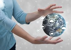 Business woman holding a globe with connectors Stock Images