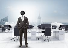 Businessman with CCTV head in office above city skyline. Digital composite of Businessman with CCTV head in office above city skyline Stock Image