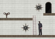 Businessman in Computer Game Level with key and traps. Digital composite of Businessman in Computer Game Level with key and traps Royalty Free Stock Photos