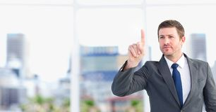 Businessman interacting with the air Royalty Free Stock Image
