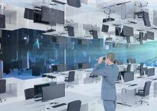 Businessman looking through binoculars in inverted office. Digital composite of businessman looking through binoculars in inverted office Stock Photography