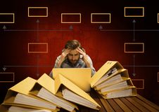 Businessman with mind map and files and folders Stock Photography