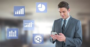 Businessman on phone and business chart statistic icons. Digital composite of Businessman on phone and business chart statistic icons Stock Photo