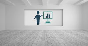 Businessman presentation and chart screen icon. Digital composite of Businessman presentation and chart screen icon Royalty Free Stock Image
