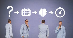 Businessman thinking in sequence with ideas and brainstorm process icons. Digital composite of Businessman thinking in sequence with ideas and brainstorm process Royalty Free Stock Image