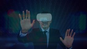 Man using VR headset with changing animations. Digital composite of businessman using VR headset against animation in the background that changes from desktop stock video footage