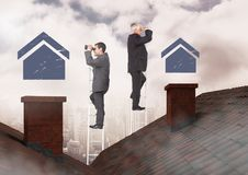 Businessmen on property ladder looking at house icons over roof. Digital composite of Businessmen on property ladder looking at house icons over roof stock photography