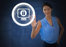 Businesswoman holding hand open security lock icon. Digital composite of Businesswoman holding hand open security lock icon royalty free stock images