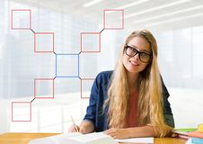 Businesswoman with mind map at desk Stock Photography