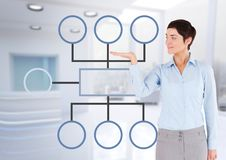 Businesswoman and mind map over bright office background. Digital composite of Businesswoman and mind map over bright office background Royalty Free Stock Images