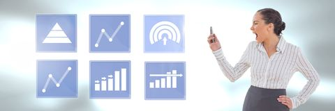 Businesswoman on phone and business chart statistic icons. Digital composite of Businesswoman on phone and business chart statistic icons Royalty Free Stock Photo