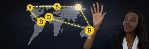 Businesswoman touching bitcoin graphic icon on world map royalty free illustration