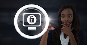 Businesswoman touching security lock icon vector illustration