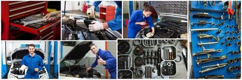 car repair collage royalty free stock photos