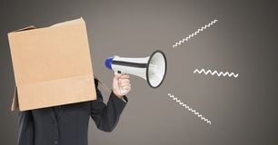 Cardboard head using megaphone with illustrations. Digital composite of cardboard head using megaphone with illustrations Stock Images