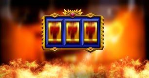 Casino slot machine and burning fire. Digital composite of Casino slot machine and burning fire vector illustration