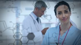 Nurse inside a hospital and chemical structure