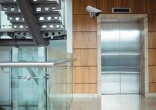 Cctv, looking the elevator after. Digital composite of cctv, looking the elevator after Stock Images