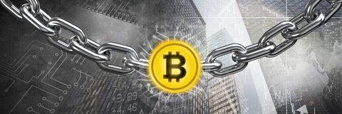 Chain holding bitcoin graphic icon in city transition. Digital composite of Chain holding bitcoin graphic icon in city transition Royalty Free Stock Photos