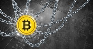 Chains holding core bitcoin graphic icon. Digital composite of Chains holding core bitcoin graphic icon Royalty Free Stock Images
