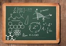 Chemical science formula on blackboard. Digital composite of chemical science formula on blackboard royalty free stock photos