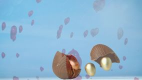 Easter egg. Digital composite chocolate Easter egg falling and breaking into smaller golden eggs and background shows red hearts floating stock footage