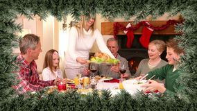Christmas tree border with family dinner