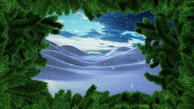 Christmas tree border with Winter snow landscape. Digital composite of Christmas tree border with Winter snow landscape royalty free illustration