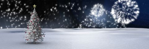 Christmas tree in winter landscape with fireworks. Digital composite of Christmas tree in winter landscape with fireworks Royalty Free Stock Photography