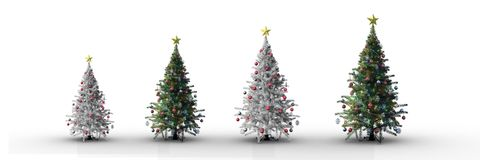 4 Christmas trees incrementing with white background Stock Photo