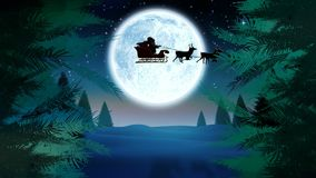 Christmas trees and Santa in sleigh with reindeer and moon